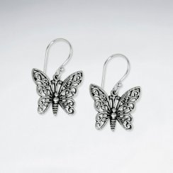 Ornate Filigree Oxidized Silver Butterfly Dangle Hook Earrings
