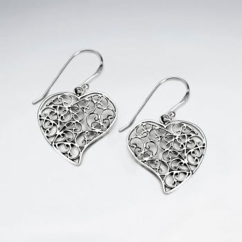 Ornate Filigree Oxidized Silver Heart Dangle Hook Earrings