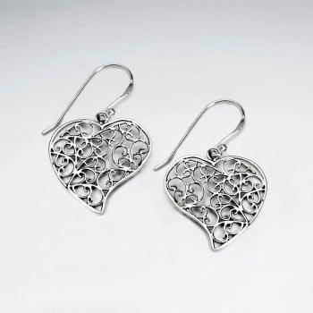 Ornate Filigree Oxidized Silver Heart Dangle Hook Earrings