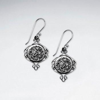 Ornate Filigree Round Embellished Oxidized Earrings