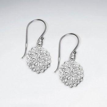Ornate Filigree Sterling Silver Circle Drop Dangle Hook Earrings
