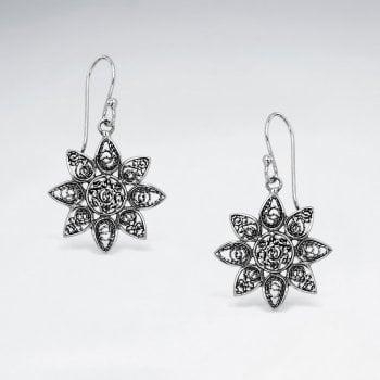Ornate Filigree Sterling Silver Star Blossom Dangle Hook Earrings