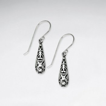 Ornate Oxidized Filigree Teardrop Dangle Hook Earrings