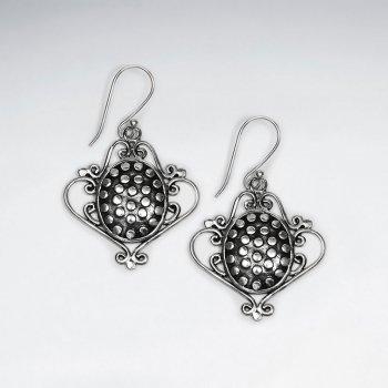 Ornate Oxidized Modern Edge Long Feminine Earrings