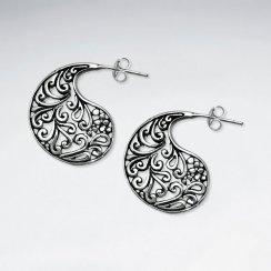 Ornate Oxidized Silver Apostrophe Filigree Drop Stud Earrings