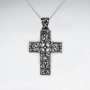 Ornate Oxidized Silver Cross Pendant