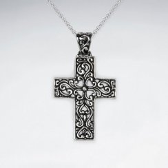 Ornate Oxidized Silver Cross Pendant