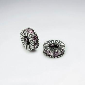 Ornate Oxidized Silver CZ Adorned Warp Beads