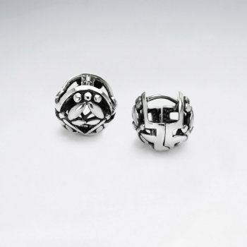 Ornate Oxidized Silver Dimensional Ball Earrings