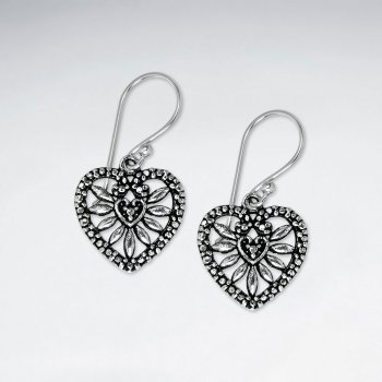 Ornate Oxidized Silver Filigree Open Design Heart Shaped Dangle Hook Earrings