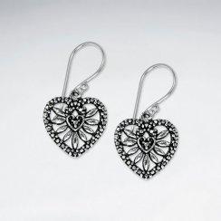 Ornate Oxidized Silver Filigree Open Design Heart Shaped Dangle Hook Earrings
