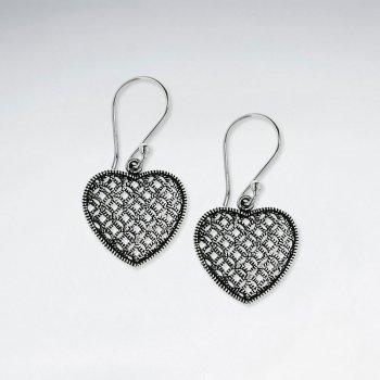 Ornate Oxidized Silver Mesh Net Patterned Heart Dangle Hook Earrings
