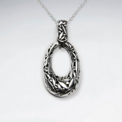 Ornate Oxidized Silver Open Oval Textured Pendant