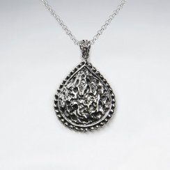 Ornate Oxidized Silver Textured Teardrop Pendant