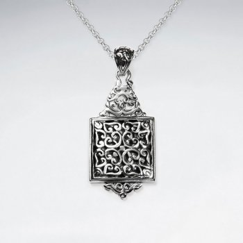 Ornate Oxidized Square Drop Silver Pendant