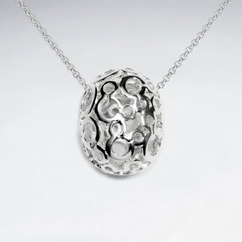 Ornate Polished Silver Filigree Egg Pendant