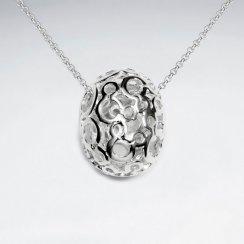 Ornate Polished Silver Filigree Egg Pendant