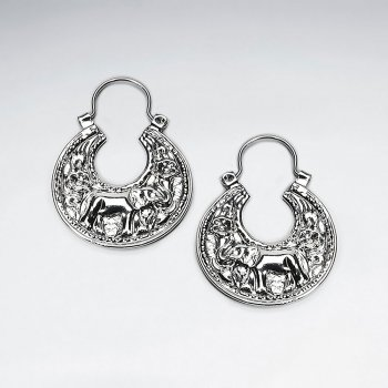 Ornate Silver Engraved U Hoop Huggie Elephant Texture  Disc Earrings