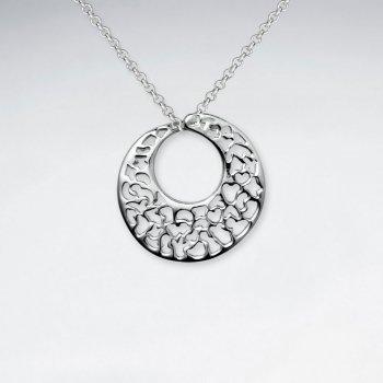 Ornate Silver Hoop Pendant