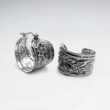 Ornate Silver Huggie Half Hoop Textured Leaf Pattern Earrings