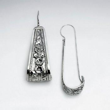 Ornate Silver Texture Design Lockback Long Form Earrings