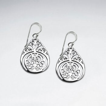 Ornate Sterling Silver Lotus Teardrop Dangle Earrings