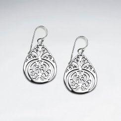 Ornate Sterling Silver Lotus Teardrop Dangle Earrings