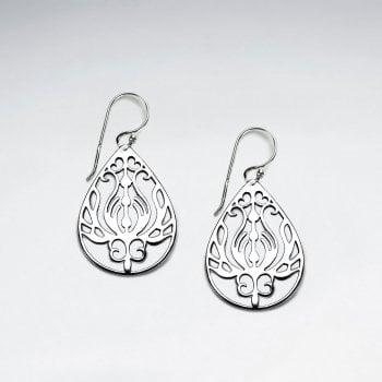 Ornate Sterling Silver Lotus Teardrop Earrings