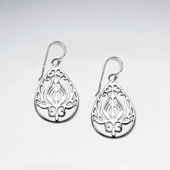 Ornate Sterling Silver Lotus Teardrop Earrings