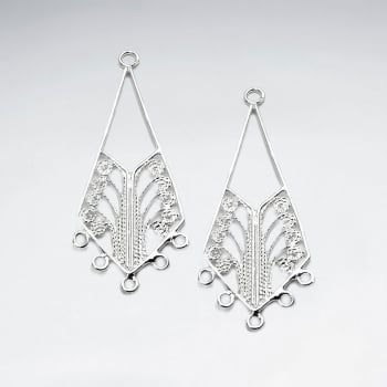 Ornate Sterling Silver Squared Teardrop Hoop Earring Accessory Pack Of 10 Pieces