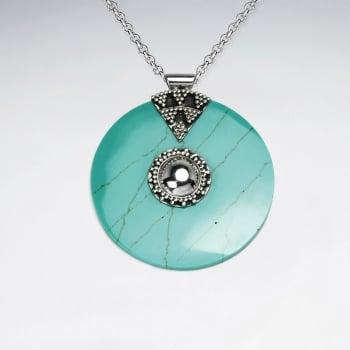Ornate Sterling Turquoise Disc Pendant