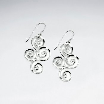 Ornate Swirl Marquise Dangle Earrings in Sterling Silver