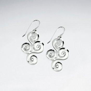 Ornate Swirl Marquise Dangle Earrings in Sterling Silver