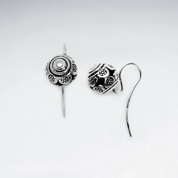 Ornate Textured Ball Earrings in Oxidized Silver