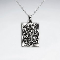 Ornate Textured Oxidized Silver Rectangle Pendant