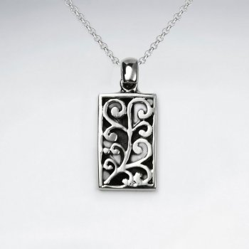 Ornate Vine Embossed Rectangle Oxidized Silver Pendant