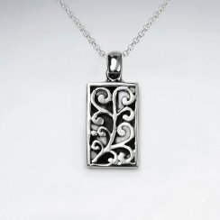 Ornate Vine Embossed Rectangle Oxidized Silver Pendant