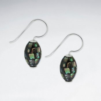 Oval Abalone Dangling Silver Earring