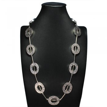 Oval Cutout Hammered Polished Silver Necklace