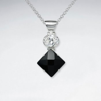 Oval CZ Silver Pendant With Faceted Rectangle Black Stone
