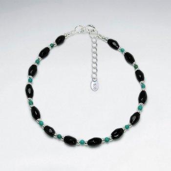 Oval Faceted Black Stone Silver Bracelet
