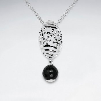 Oval Flower Silver Pendant With Round Faceted Dangling Black Stone