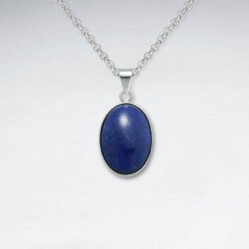 Oval Lapis Lazuli Silver Pendant