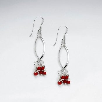 Oval Open Design Earrings With Dangle Red Glass Bead Cluster