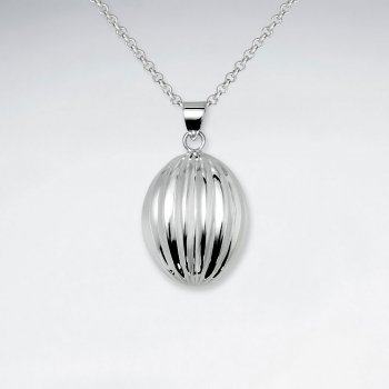Oval Raised Texture Egg Shape Silver Pendant