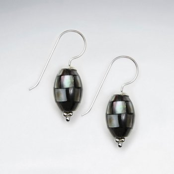 Oval Shape Shell Dangling Silver Earring