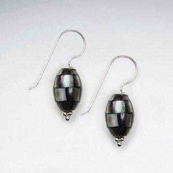 Oval Shape Shell Dangling Silver Earring