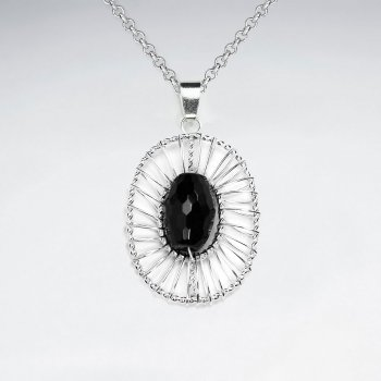 Oval Shape Wirework Silver Pendant With Oval Faceted Black Stone