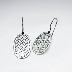 Oval Silver Cobblestone Textured Drop Hook Earrings