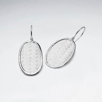 Oval Silver Cobblestone Textured Drop Hook Earrings